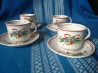"4 Salem ""Christmas Eve"" Tea Cups & Saucers by Viktor Schreckengost"