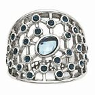 Chisel Stainless Steel Women's Blue Glass and Preciosa Crystal Fashion Ring image