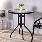 Round Bistro Table Patio Balcony Garden Tempered Glass Coffee Tea Dining Table