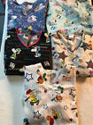 Peanuts Gang Snoopy Charlie Brown Lucy Linus Scrub Top  Small Medium Clean