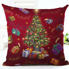 "18"" Merry Christmas Pillow Case Cotton Linen Sofa Throw Cushion Cover Home Decor"
