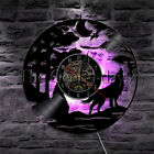 Howling Wolf at Moon Wall Clock Wildlife Forest Wolf Vinyl Record Wall Clock