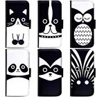 PIN-1 Art Cartoon Animals Face Series Phone Wallet Flip Case Cover for Samsung