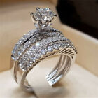 Fashion 925 Silver Filled Wedding Set Rings for Women White Sapphire Size 5-12