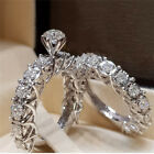 Gorgeous 925 Silver Filled Wedding Set Rings For Women White Sapphire Size 6-10
