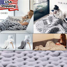 "Large Chunky Knitted Thick Yarn Blanket Handmade Bulky Throw Sofa Blanket 47/59"" image"