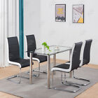 Rectangle White Glass Top Dining Table and 4 Chairs Set  Furniture