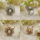 Women Rhinestone 3 Ring Silk Scarf Buckle Clip Holder Brooch Slide Chiffon