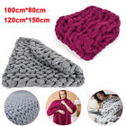 Large Chunky Knit Blanket Soft&Warm Thick Line Yarn Bulky Knitted Throw Handmade image