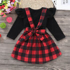 Внешний вид - Newborn Kids Baby Girl Outfits Clothes Set T-shirt Tops +Plaid Strap Skirt Dress