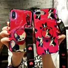 Cute Dog Put Up Stand Holder Strap Case Cover For Samsung iPhone XR XS MAX 7 8+