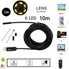 7mm 1M-10M Endoscope Endoskop 6 LED Inspektionskamera für Android Handy Neu DE