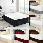 Wrap Around Hotel Bed Skirt Elastic Band Bed Apron Easy Fit Ruffled Pure Color image