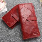 Red Long Wallet Women Cow Leather Smartphone Wallet Female Coin Purse Custom image