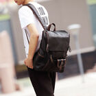 Mens Black Blue Leather Backpack Rucksack Bag Laptop Travel School Bags