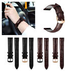 Genuine Leather Watch Band w/ Stainless Metal Clasp For 18mm Quick Release Strap image