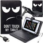 "US Stock For Acer Iconia 7"" 8"" 10"" Tablets PC Leather USB Keyboard Case Cover"