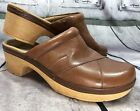 Clarks Womens Preslet Sheen Leather Casual Clogs Mules Shoes Tan Brown Sz 10 M