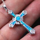 Exquisite Elegant Gift Trendy Fashion Opal Necklace Jewelry Cross Pendant Chain
