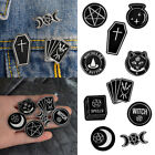 Fashion Gothic Enamel Cat Badges Brooches Punk Collar Lapel Pin Black Jewelry image