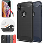 Case For i Phone XS Max XR 7 Carbon Fiber Protective Shockproof Cover + Glass