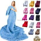 Comfortable Warm Soft Thick Line Wool Knitted Hand-woven Blanket EO56 image