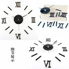 Large DIY Number Wall Clock 3D Mirror Sticker Modern Home Office Decor Art Decal