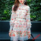 Womens Floral long Lantern sleeve Printed lace Skirt Two suits Chiffon Casual x