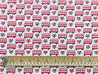 100% Cotton Fabric - Red White London Bus Union Jack Print Craft Material Metre