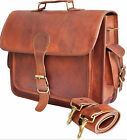 """New 16""""/ 12"""" 100% Pure Leather Travel Unisex Office Formal  Vintage Bag"""