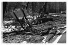 Orig 1959 Negative VIEW AFTER FLOOD WASHED CAR OFF OF ROAD NEAR GAMBIER SIGN OH