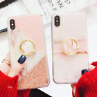 For iPhone XS Max XR 8 7 6s Plus Marble Painted Ring Holder Soft TPU Case Cover
