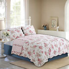 Spring Rose Floral Reversible 100%Cotton 3-Piece Quilt Set, Bedspread, Coverlet image