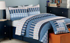 Salina Navy Plaid Reversible 100%Cotton Quilt Set, Bedspread, Coverlet image