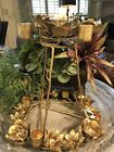 Anthrpologie Round Gold Candleholder NWT