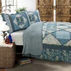 Moyers Blue TRUE Patchwork 100%Cotton 3-Piece Quilt Set, Bedspread, Coverlet image