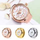 Rose Dial Quartz Analog Watch Steel Alloy Cool Elastic Quartz Finger Ring Watch