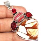 P9571 Copper Brecciated Mookaite  & 925 Silver Plated Pendant 2.2""
