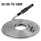 25/50/75/100ft Adjustable Nozzle Stainless Steel Garden Hose Water Pipe Flexible