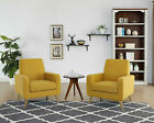 Arm Chair Accent Living Room Single Sofa Linen Fabric Upholstered Wood Legs