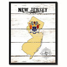 New Jersey State Flag Canvas Print with Picture Frame Home Decor Wall Art Gifts