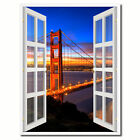Golden Gate Bridge San Francisco Picture 3D French Window Canvas Print Gifts Hom