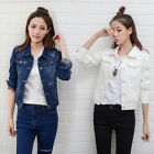 Women Casual Button Down Crop Short Denim Jacket Slim Outwear Jeans Coat