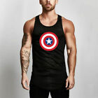 Men's Muscle Fitness Undershirts Quick Dry Breathable American Captain Tank Tops