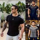 US Men's Short Sleeve Gym Sport T Shirt Fitness Workout Quick Drying Tops Blouse image