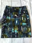 Anthopologie Tabitha Liquid Acres Watercolor Lined Pencil Skirt Size 6