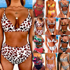 Women High Waist Padded Bra Bikini Swimsuit Bandage Push-up Swimwear Set Bathing