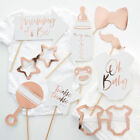 10pc Rose Gold Baby Shower Photo Booth Props Unisex Selfie Oh Baby Party Games