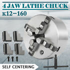 4 Jaw K12-80/160 Lathe Chuck Self Centering Reversible Hardened Steel US