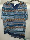 WOMENS STYLUS LAYERED  LONGER ON ONE SIDE TOP NAVY PRINTED SIZE MED NEW W TAGS